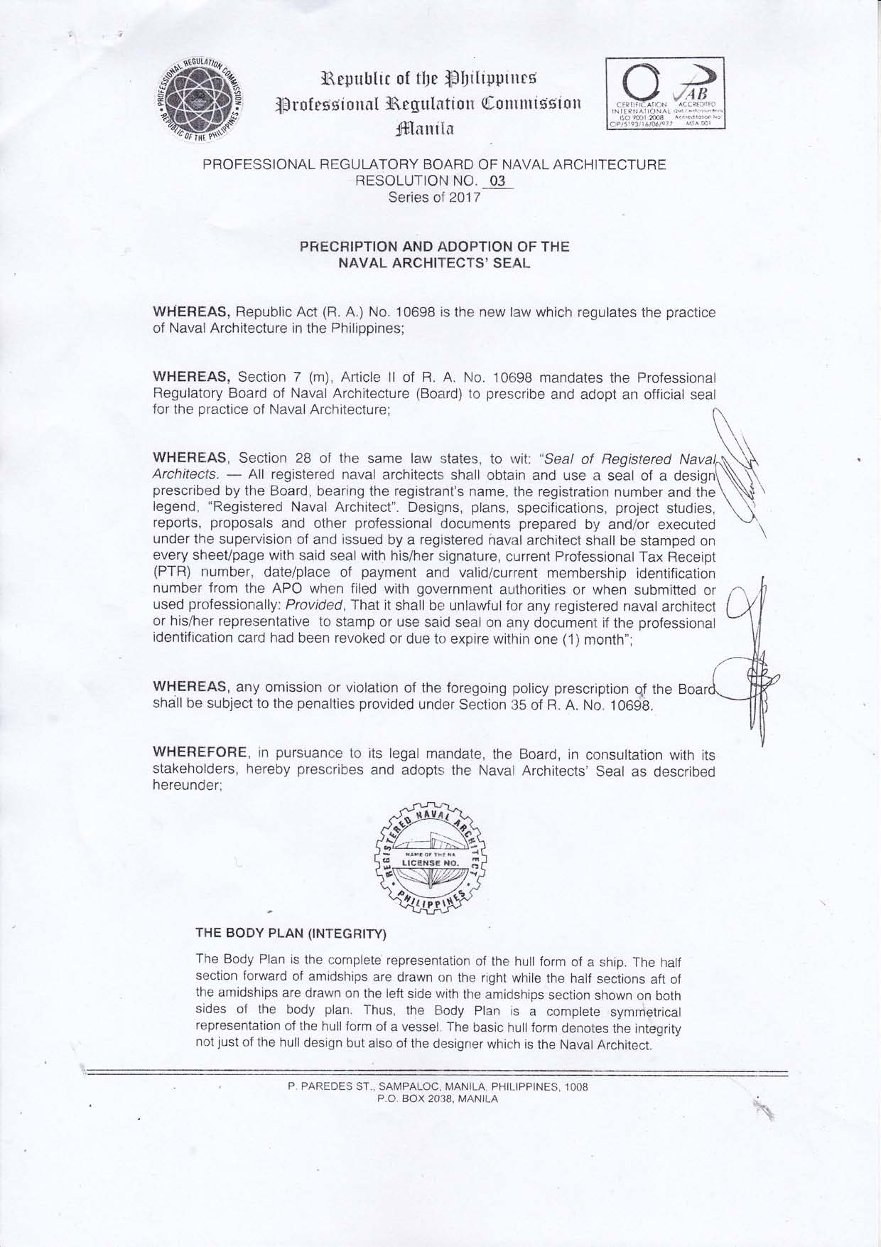 Prescription and adoption of the naval architects seal welcome prc resolution no 03 series of 2017page1 1betcityfo Gallery
